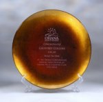 Gold Leaf Plate Corporate Crystal & Glass Awards