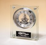 Large Glass Clock with Skeleton Movement Desk Clocks