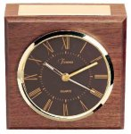 American Walnut Square Clock Desk Clocks