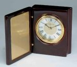 Piano Finish Mahogany Book Clock Desk Clocks