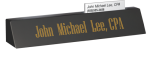 Black Marble Desk Name with Business Card Slot Desk Wedge Name Plates