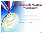 Photo Honorable Mention Certificate Fill in the Blank Certificates