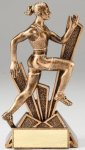 Checkmate Series Sculpted Antique Gold Resin Trophy -Track Female Gold Resin Trophies