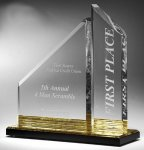 Multi-Faceted Dual Acrylic Column with Base Accent Color Modern Design Awards