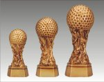 Sports Equipment Theme Golf Ball on Pedestal Pedestal Resin Trophy Awards