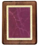 Walnut Plaque with Burgundy Marble Plate Walnut Plaques