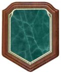 Shield Walnut Plaque with Green Marble Plate Walnut Plaques