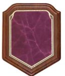 Shield Walnut Plaque with Burgundy Marble Plate Walnut Plaques