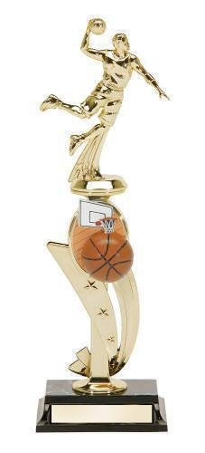 Basketball Action Male Trophy With Color Riser Basketball